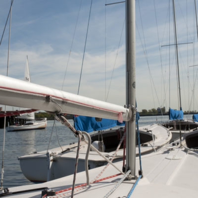 Rhodes 19 tied to dock