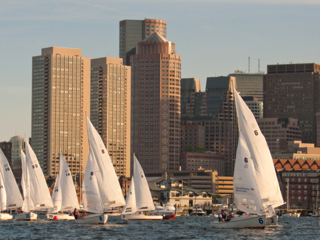 Rhodes 19 racing in Boston Harbor - Courageous Sailing